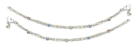 Pair of White Metal Braided Anklet