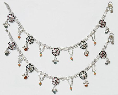 Pair of White Metal Anklets with Stone and Bead