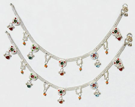Pair of White Metal Anklet with Multicolor Stone and Bead