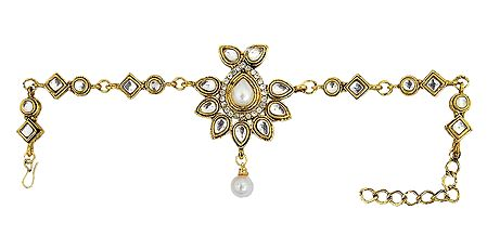 Faux Zirconia Studded Gold Polish Kundan Bajubandh (To wear on upper arm)