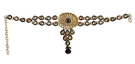 Stone Studded Adjustable Kundan Armlet (To wear on upper arm)