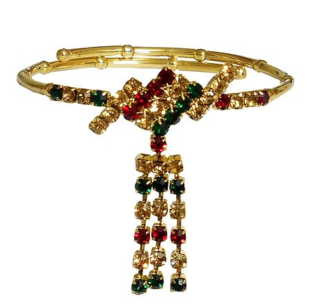 Red, Green and Yellow Stone Studded Armlet (To Wear on Upper Arm)