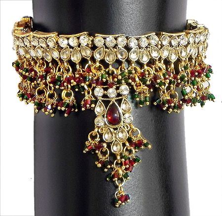 Maroon and Green Beads and White Stone Studded Gorgeous Bajuband(To wear on upper arm)