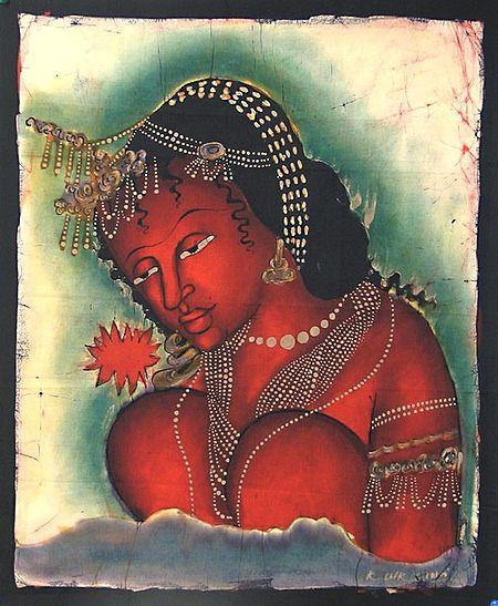 Ajanta Female Bodhisattva with Red Flower