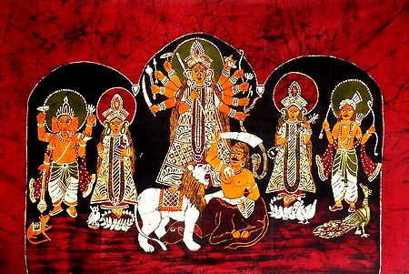 Devi Durga with Family - Batik Painting on Cloth