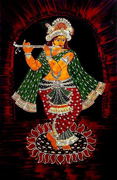Murlidhara Krishna - Batik Painting on Cloth