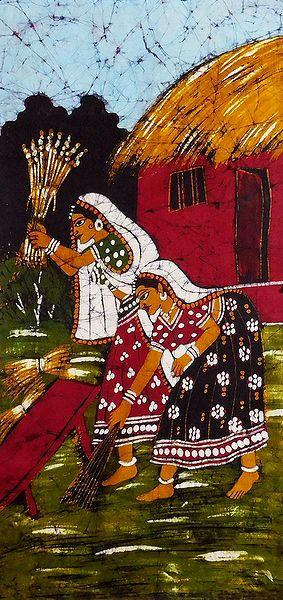 Batik Painting of Village Women at their Daily Chores
