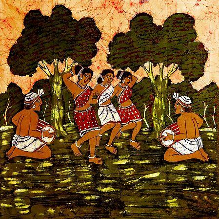 Santhal Dancers - Batik Painting