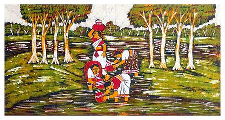 Village Women Collecting Water from a River