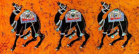 3 Royal Camels - Batik Painting