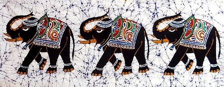 3 Royal Elephants - Batik Painting