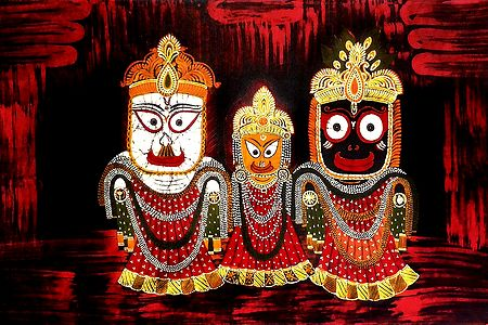 Jagannath, Balaram, Subhadra - Batik Painting on Cloth