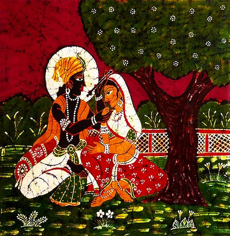 Secret Rendezvous of Radha Krishna - Batik Painting on Cloth