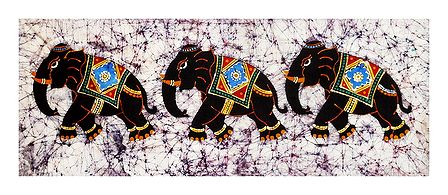 3 Royal Elephants - Batik Painting