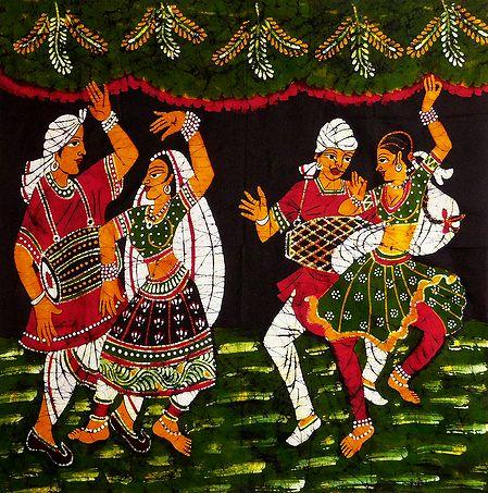 Indian Folk Dancers - Batik Painting