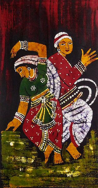 Batik Painting of Indian Folk Dancers