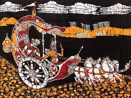 Krishna Preaching the Gita to Arjuna