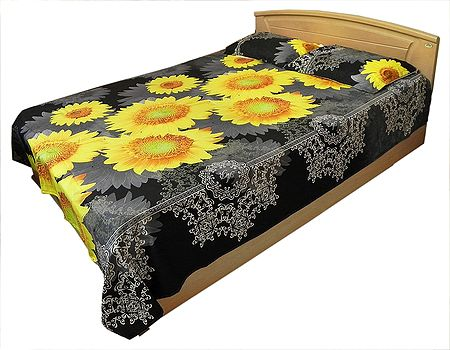 Sun Flower Print on Glazed Cotton Double Bedspread with 2 Pillow Covers