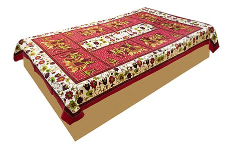 King on Elephant with Floral Print on Red Cotton Single Bedspread