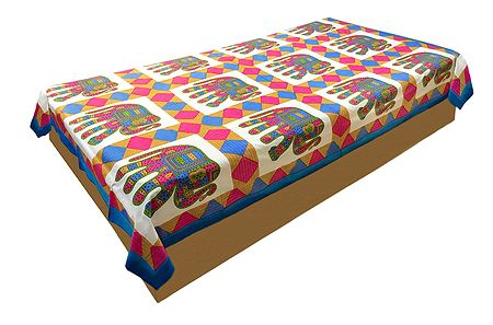 Colorful Elephant Print on White Cotton Single Bedspread
