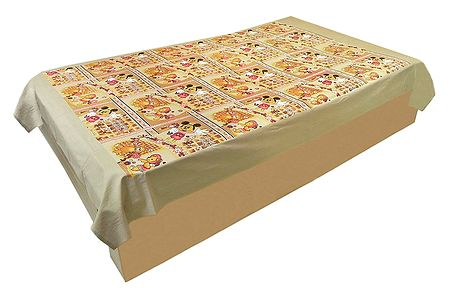 Teddy Bear Print on Colorful Cotton Single Bedspread