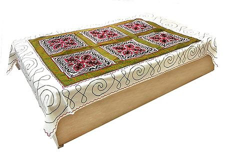 Kutch Embroidery on Off-White Cotton Single Bedspread
