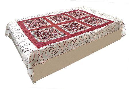 Gujrati Embroidery on Off-White Cotton Single Bedspread