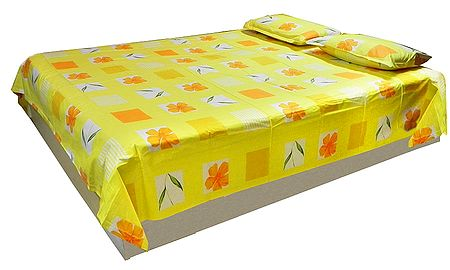 Saffron and White Print on Yellow Cotton Double Bedspread with 2 Pillow Cover