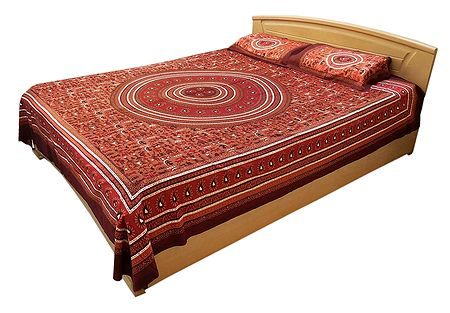 Tribal Print on Cotton Double Bedspread with 2 Pillow Covers