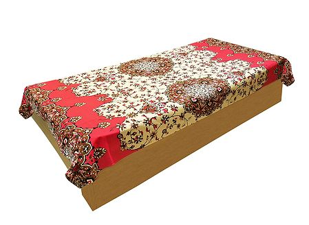 Floral Print on Light Beige Cotton Single Bedspread