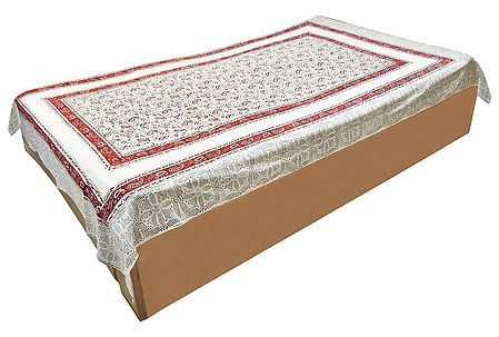 Paisley Print on Off-White Cotton Single Bedspread