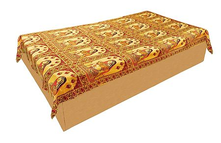 Rajput Princess Print on Yellow Cotton Single Bedspread