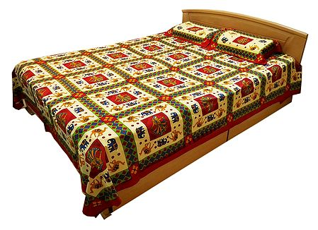 Multicolor Dancer and Animal Print on Light Yellow Cotton Double Bedspread with 2 Pillow Covers