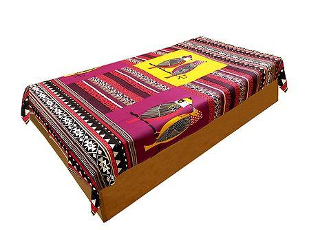 Bird Print on Yellow and Magenta Cotton Single Bedspread