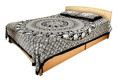 Black and Off-White Cotton Double Bedspread with 2 Pillow Covers