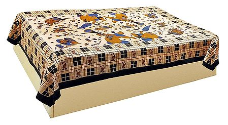 Brown Mickey and Donald Print on Beige Cotton Single Bedspread