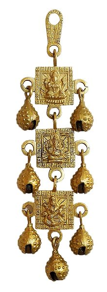 3 Tier Hanging Bells with Lakshmi, Saraswati and Ganesha