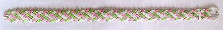 Green, Pink, White Cloth and Sequin Braided Belt