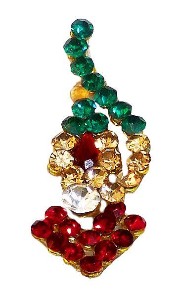 Designer Long Bindi with Multicolor Stone