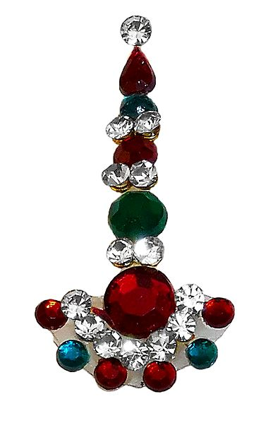 Designer Long Bindi with Multicolor Stone