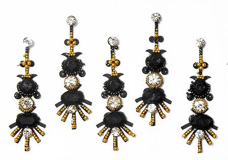 Black Stone Studded Long Bindis