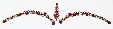 Dark Maroon and White Stone Studded Bridal Bindi
