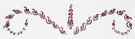 Dark Magenta and White Stone Studded Bridal Bindi