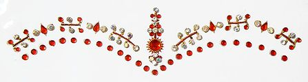 Dark Red and White Stone Studded Double Layer Bridal Bindi