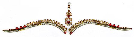 Maroon and White Stone Studded Bridal Decoration with Golden Design