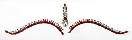 Maroon and White Stone Studded Bridal Decoration
