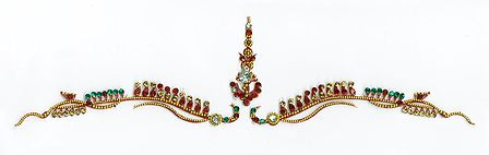 Maroon, Green and White Stone Studded Bridal Decoration with Golden Design
