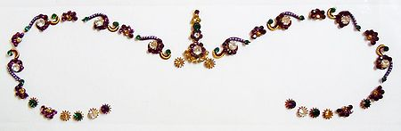 Maroon, Green and White Stone Studded Bridal Bindi