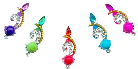 Multicolor Stone Studded Designer Long Bindis