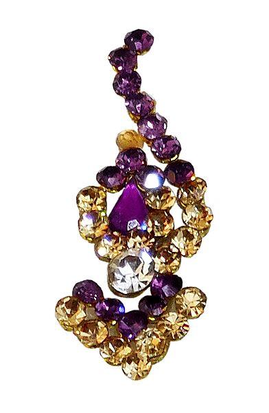 Purple and Yellow Stone Studded Long Bindi